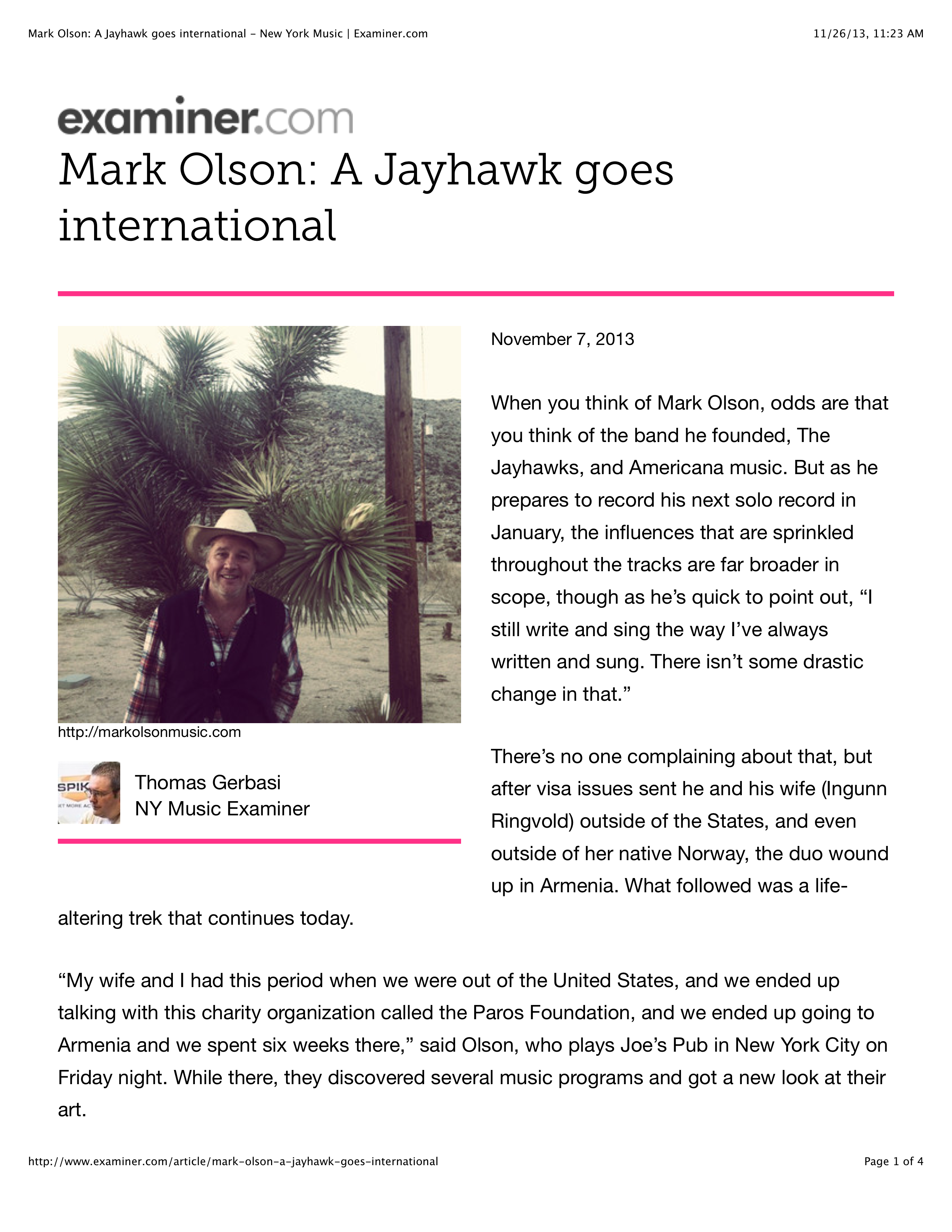 Mark Olson: A Jayhawk goes international - New York Music | Examiner.com 1