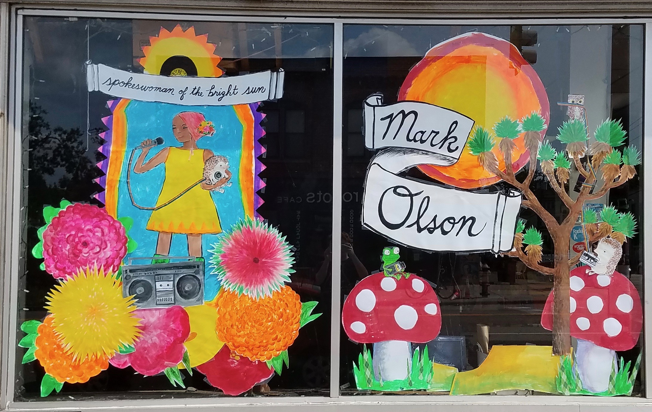 Window display at Treehouse Records, Minneapolis by artist Chris Monroe